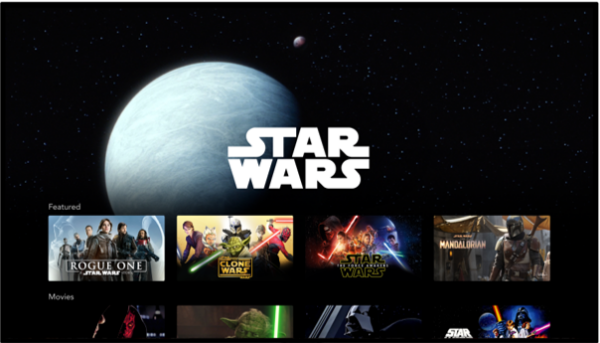 The content list of the Star Wars section displayed on the Disney+ app.