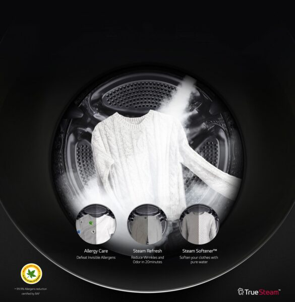 Promotional image showing inside an LG washing machine's drum as its TrueSteamTM technology cleans a sweater, with icons overlapping to highlight its Allergy Care, Steam Refresh and Steam Softener features