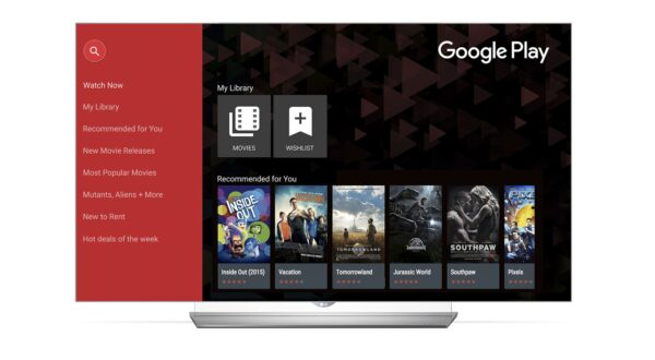 The Google Play Movies home page on the LG Smart TV.