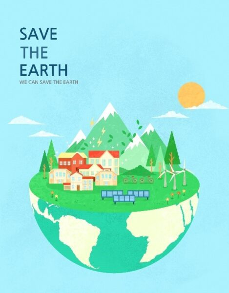 "A poster with the slogan, ""Save The Earth, We Can Save The Earth,"" to celebrate Earth Day."