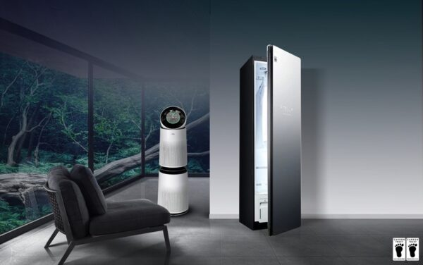 A cleaner home with LG appliances including LG Styler and LG's PuriCare air purifiers.