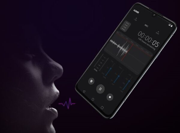 A concept image visualizing the notion of Autonomous Sensory Meridian Response (ASMR), with a woman speaking directly into LG's smartphone.
