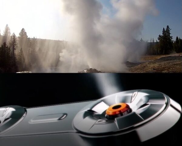 An image combining steam coming from LG TrueSteam and a natural geyser.
