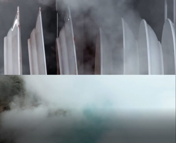 An image combining the High-temperature TrueSteam produced inside the dishwasher with the natural steam coming off a lagoon.